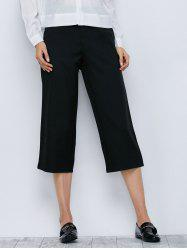 High Waisted Wide-Leg Capri Work Pants
