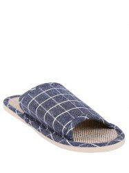 Checked Color Block House Slippers -