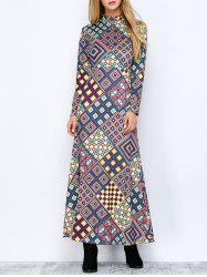 Mock Neck Maxi Print Dress