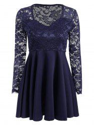 Long Sleeve Lace Panel Short Dress