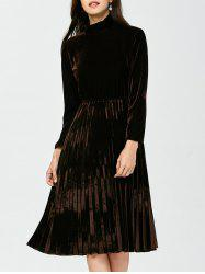 Velvet Turtleneck Pleated Dress