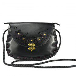 Woven Flower Trim Crossbody Bag