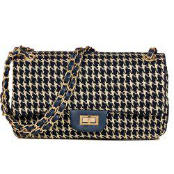 Twist Lock Houndstooth Chains Crossbody Bag