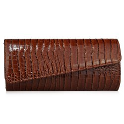 Flapped Crocodile Pattern Evening Bag - BROWN
