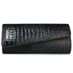 Flapped Crocodile Pattern Evening Bag