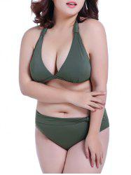 Halter Low Cut Plus Size Bikini Set