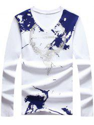 Long Sleeve V Neck Printing T-Shirt