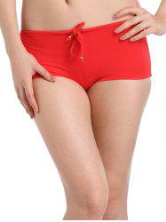 Seamless Drawstring Swimsuit Boy Shorts Bottoms