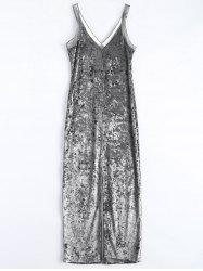 Velvet Mesh Insert Slip Dress