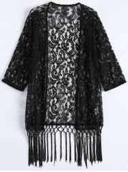 Lace See Thru Fringed Cardigan Kimono Cover Up
