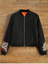 Embroidered Lined Bomber Jacket