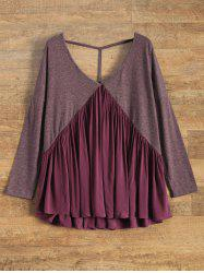 Low Cut Backless Swing Tee - WINE RED S
