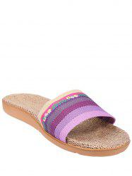 Striped Flowers Indoor Slippers - PURPLE