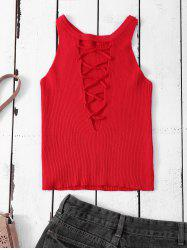 Lace Up Sweater Tank Top