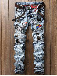 Rivets Embellished Patches Biker Jeans - BLUE