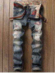 Zipper Fly Pocket Distressed Straight Leg Jeans -