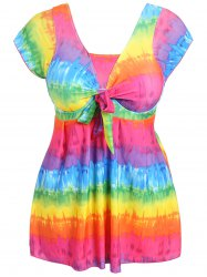 Plus Size Tie Dye One Piece Swimwear - MULTICOLOR