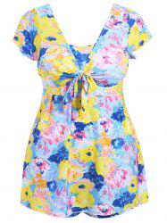 Plus Size Floral Skirted One Piece Swimsuit