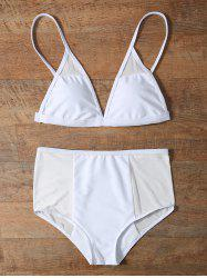 Mesh Trim High Waist Bikini Set