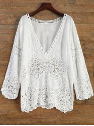 Crochet Panel Beach Cover-Up - WHITE