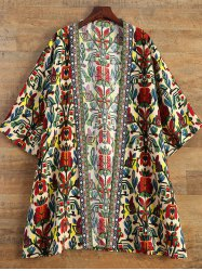 Embroidered Printed Duster Coat -