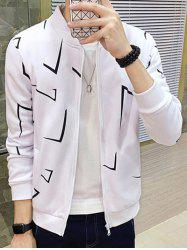Geometric Print Zip Up Jacket - WHITE