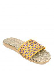 Linen Geometric Pattern House Slippers