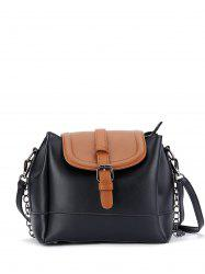 Chaînes Buckle Strap Color Block Bucket Bag - Noir