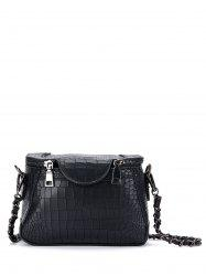 Crocodile Embossed Chains Cross Body Bag