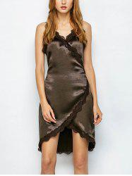 Lace Trim Satin Sleeveless Fitted Wrap Dress -