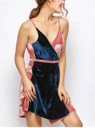 Sleeveless Two Tone Velvet Wrap Dress - BLUE AND PINK