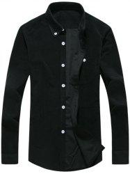 Chest Pocket Corduroy Chemise - Noir 2XL