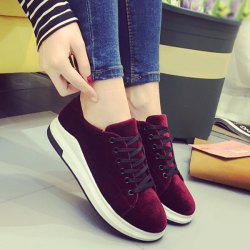 Platform Velour Sneakers - WINE RED