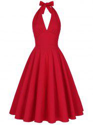 Halter Low Back Plunge Work Christmas Party Dress - RED