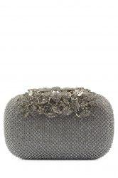 Rhinestone Trimming Metal Leaves Evening Bag - SILVER