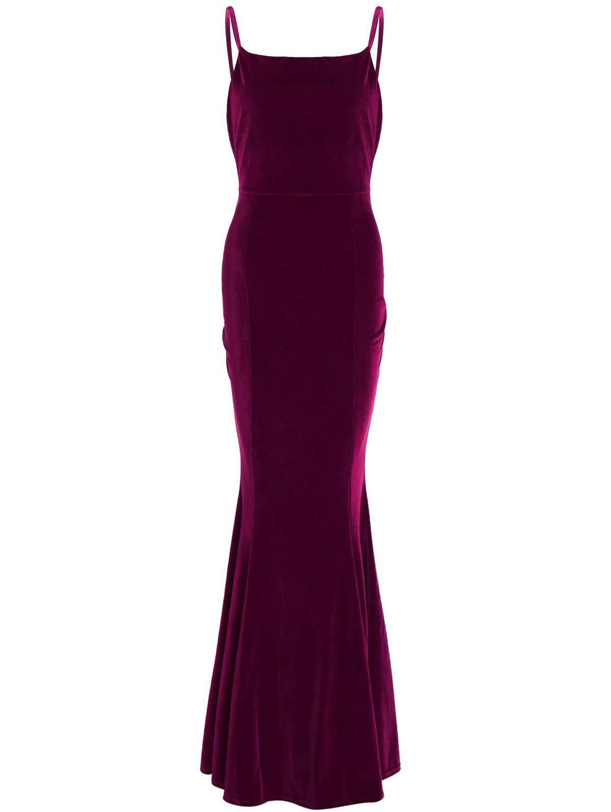 Buy Velvet Maxi Party Formal Slip Tight Mermaid Prom Dress