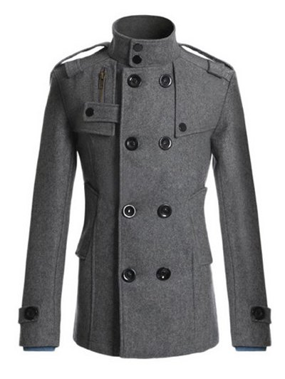 Stand Collar Coat Zipper design double boutonnage en laine Blends