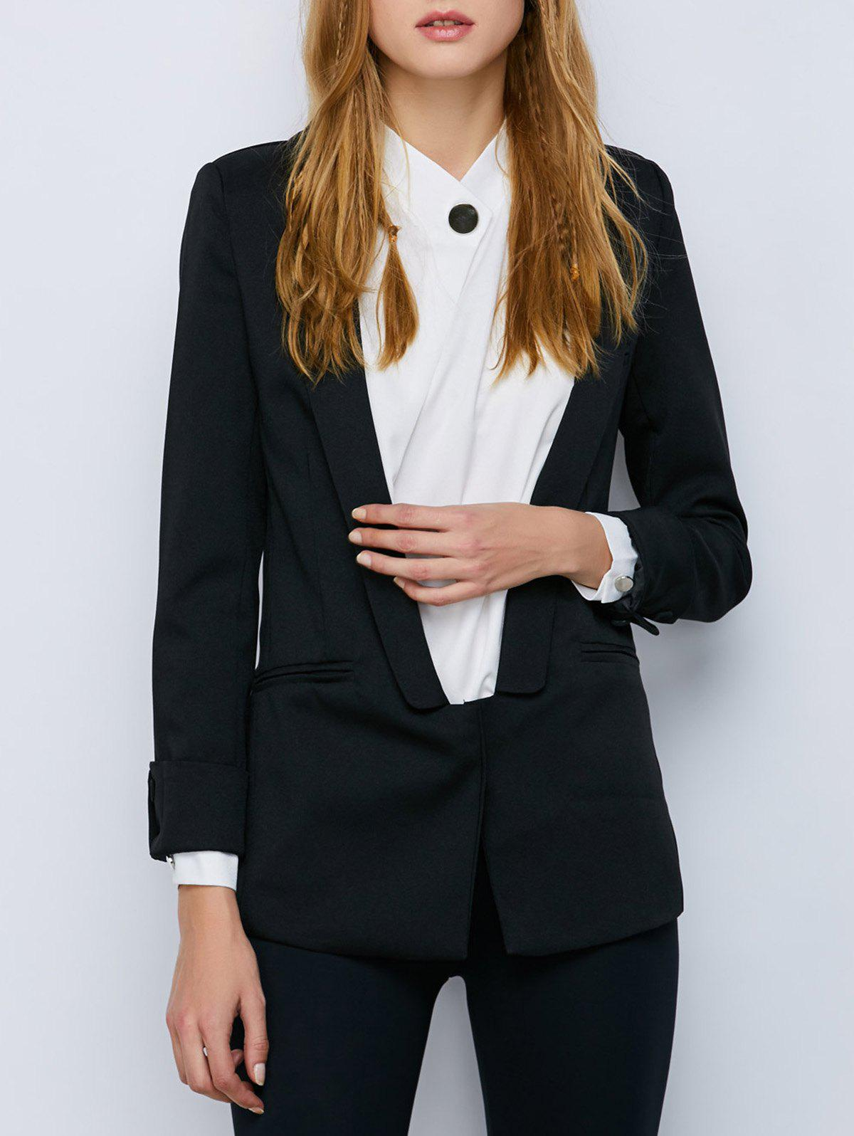 Unique Shawl Collar Cuffed One Button Blazer