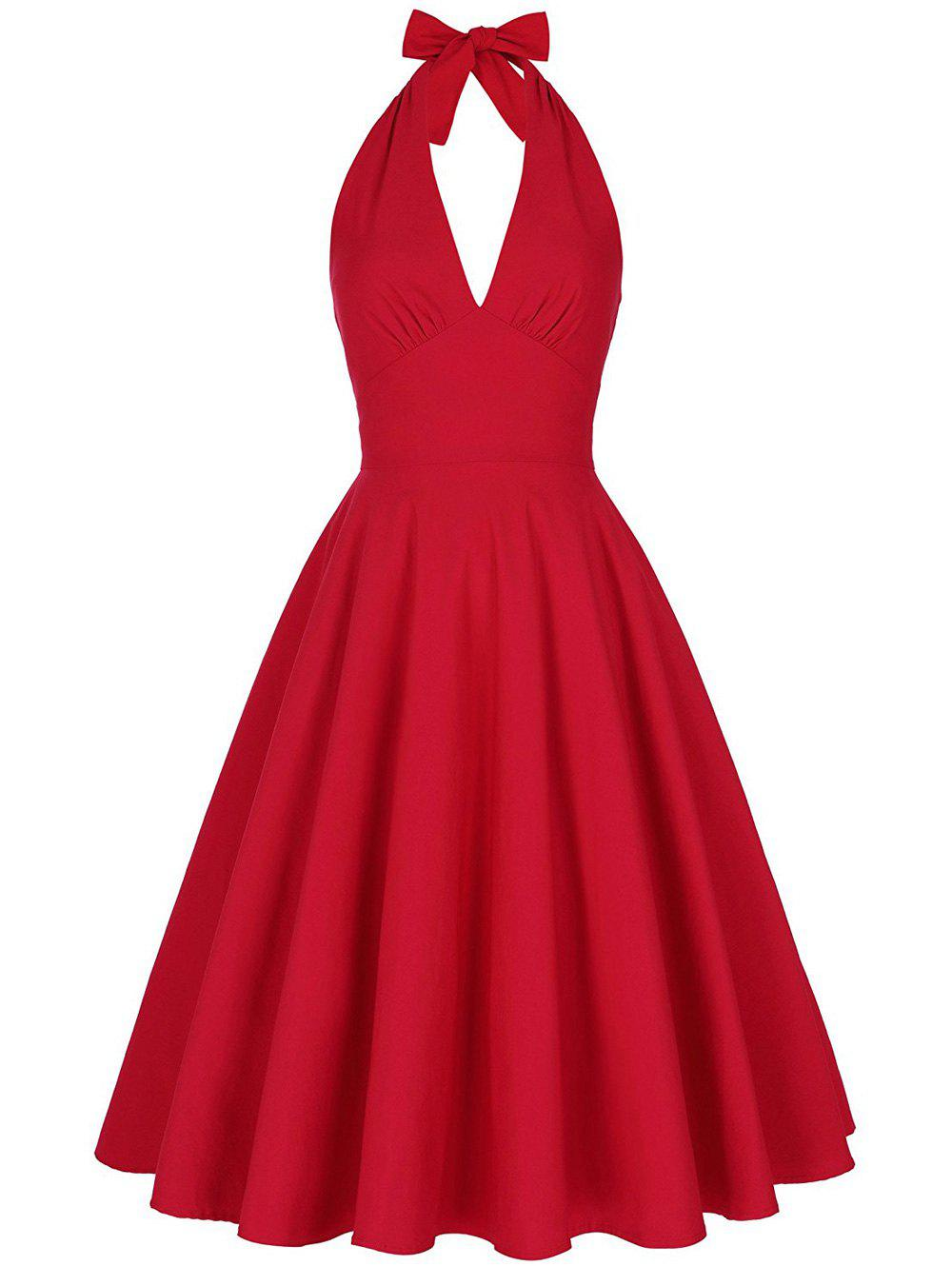 Halter Low Back Plunge Work Christmas Party DressWOMEN<br><br>Size: 2XL; Color: RED; Style: Vintage; Material: Cotton,Cotton Blend,Polyester; Silhouette: Ball Gown; Dresses Length: Knee-Length; Neckline: Halter; Sleeve Length: Sleeveless; Embellishment: Backless; Pattern Type: Solid; With Belt: No; Season: Fall,Spring,Summer; Weight: 0.4150kg; Package Contents: 1 x Dress;
