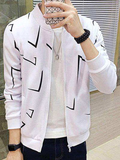 Geometric Print Zip Up Jacket Blanc L
