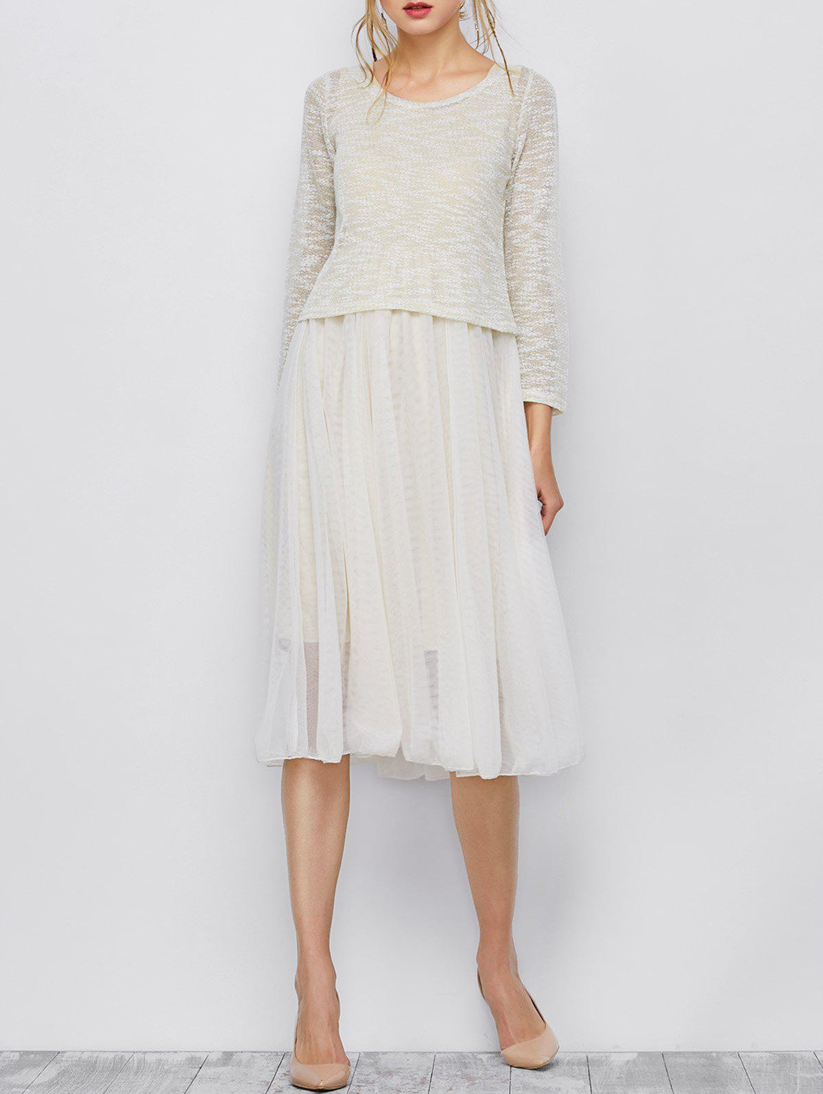 Hot Long Sleeve Top and Midi Tulle Dress
