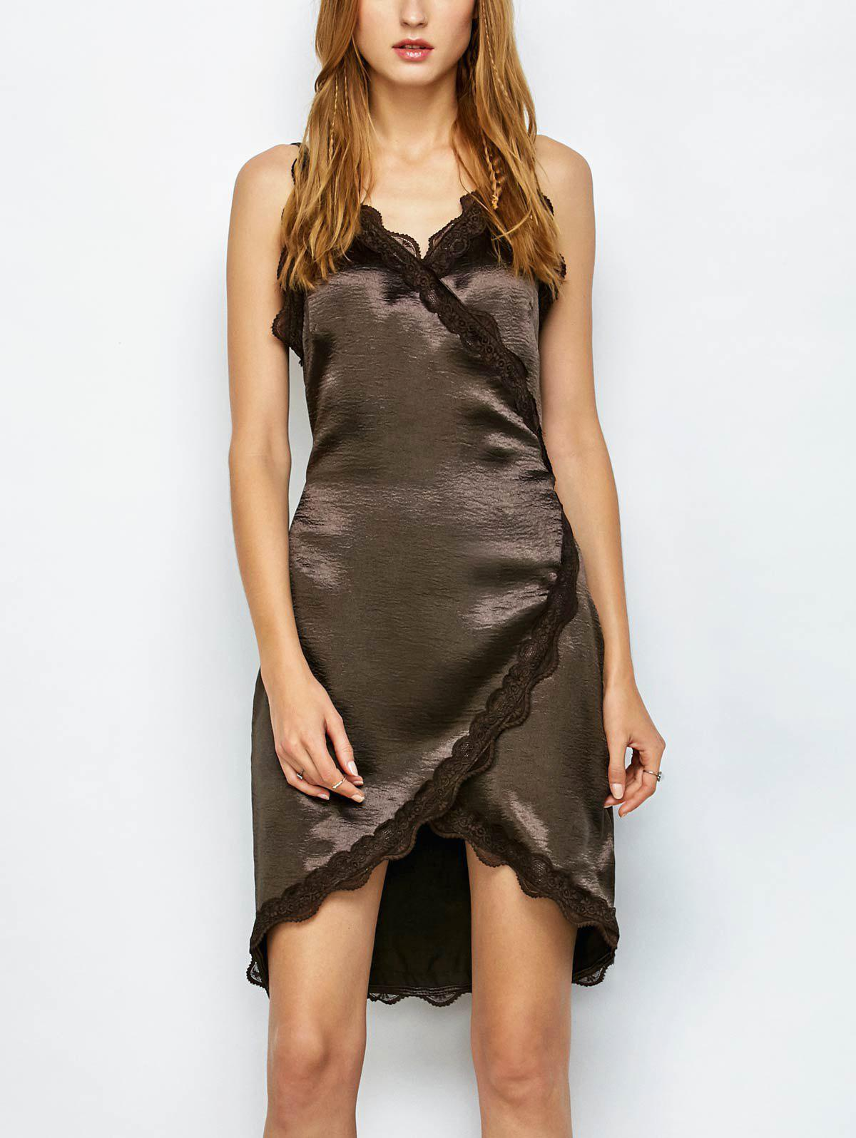 Affordable Lace Trim Satin Sleeveless Fitted Wrap Dress