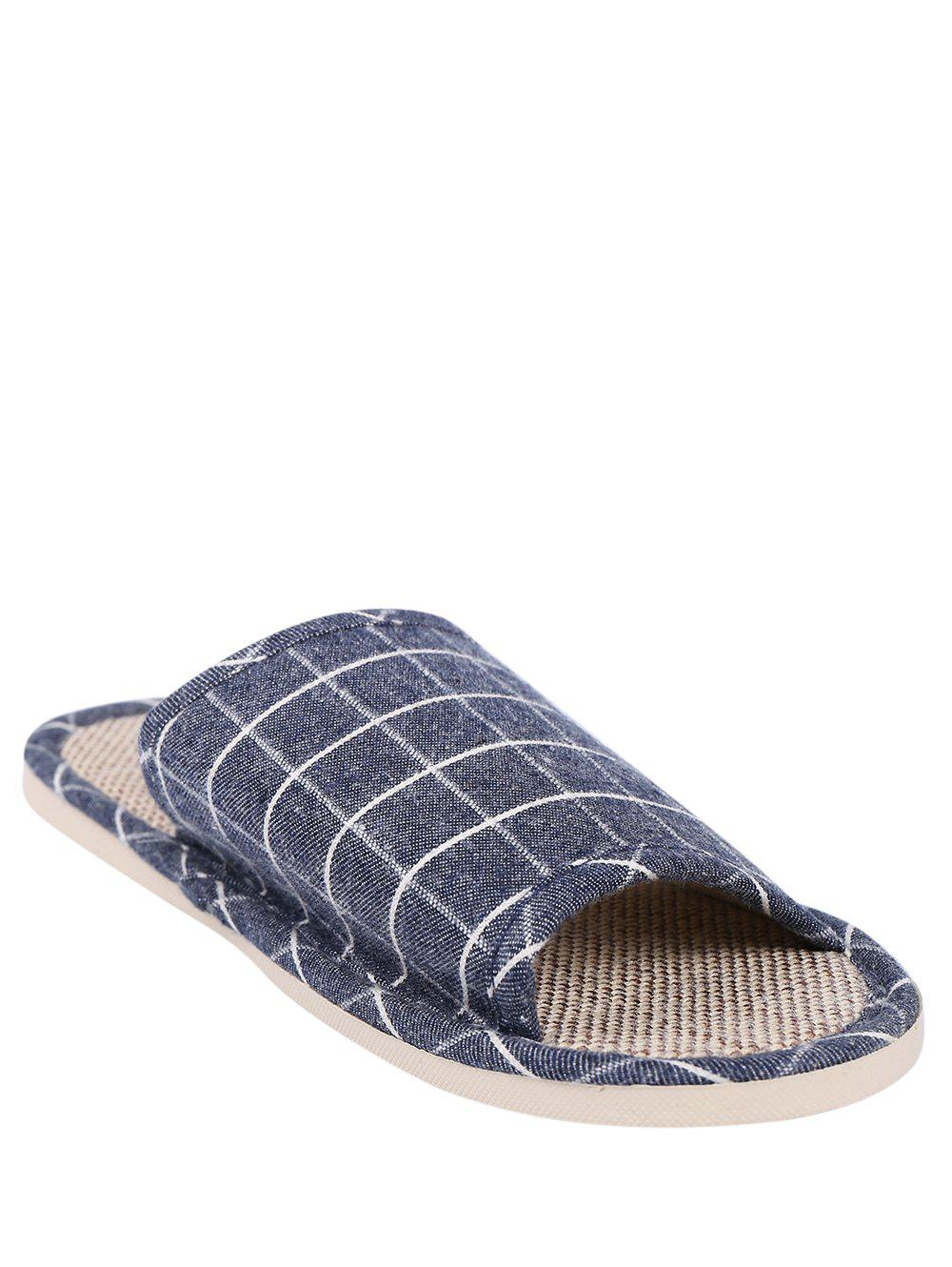 Affordable Checked Color Block House Slippers