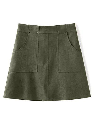 Trendy Front Pockets Suede A Line Skirt