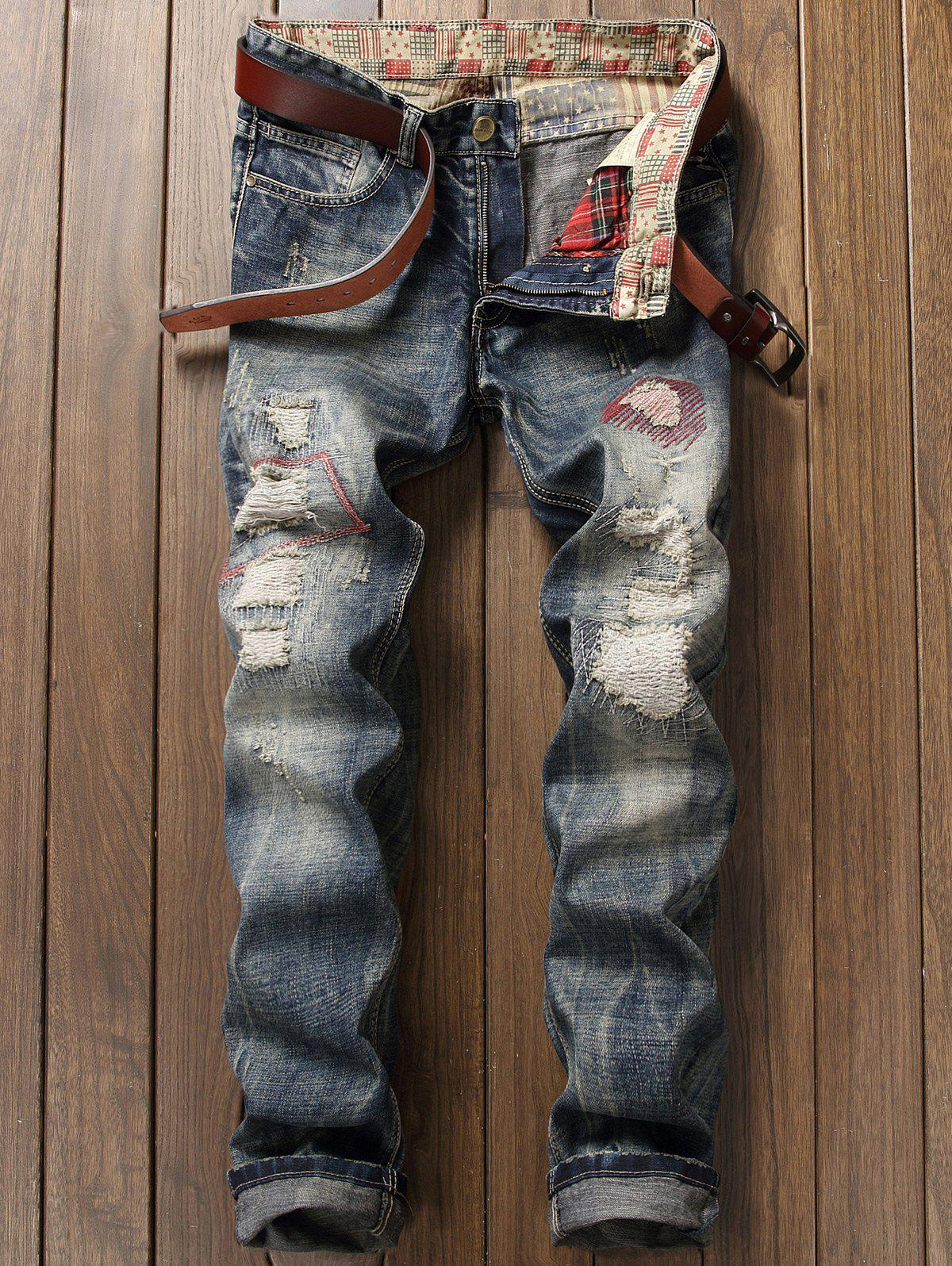 Discount Zipper Fly Pocket Distressed Straight Leg Jeans