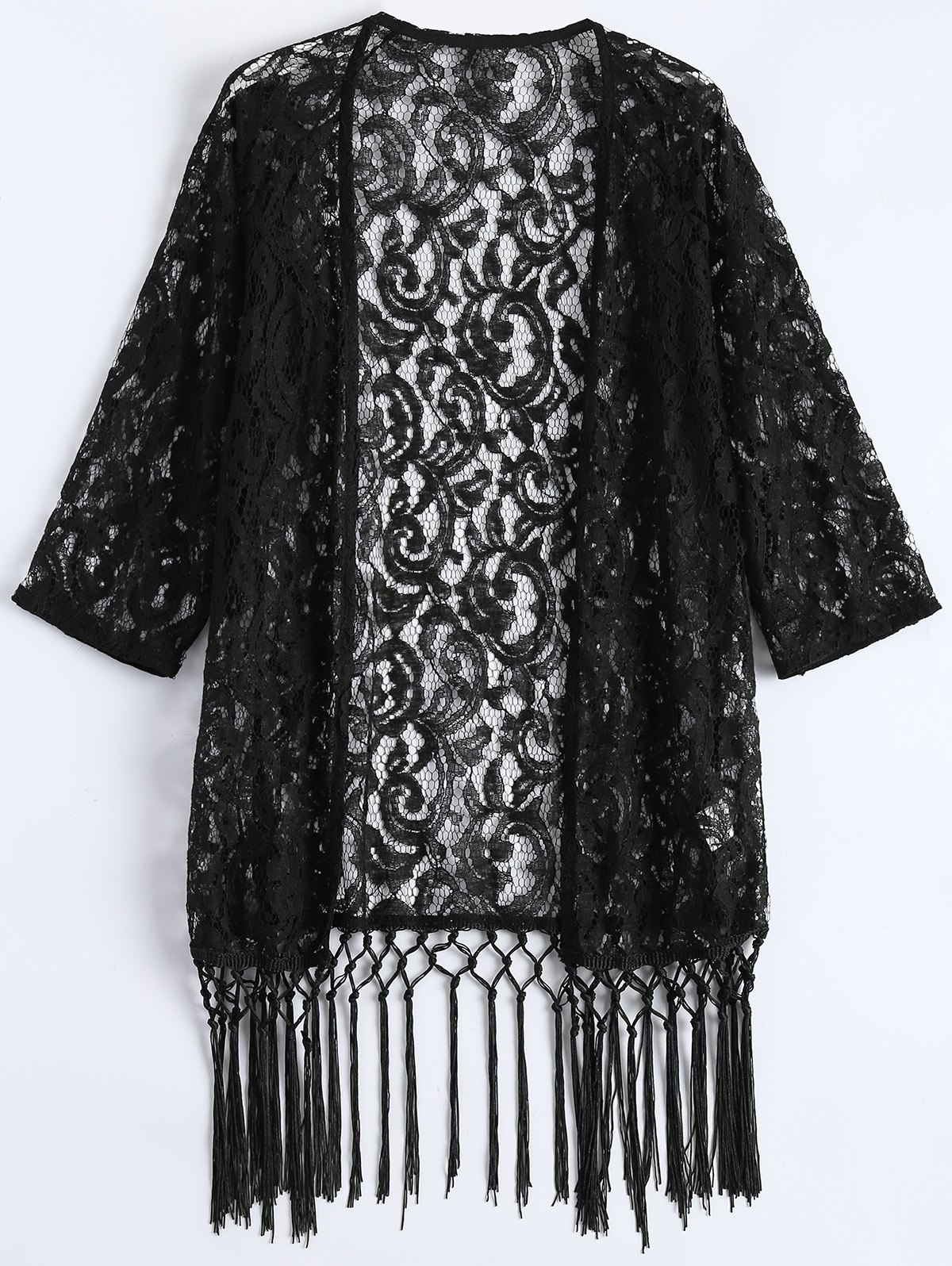 Store Lace See Thru Fringed Cardigan Kimono Cover Up