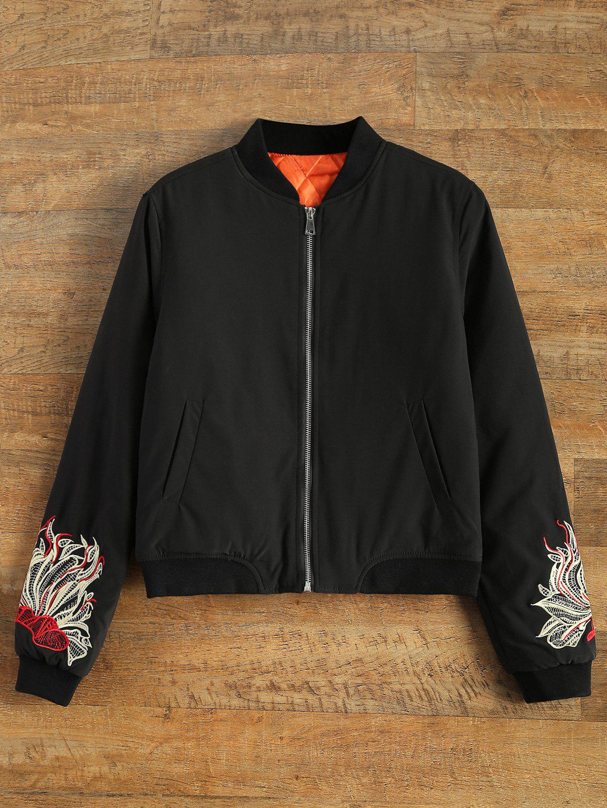 Store Embroidered Lined Quilted Bomber Jacket