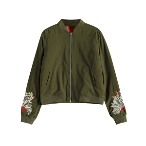 Embroidered Lined Quilted Bomber Jacket - ARMY GREEN L