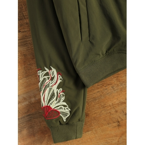 Embroidered Lined Quilted Bomber Jacket - ARMY GREEN M