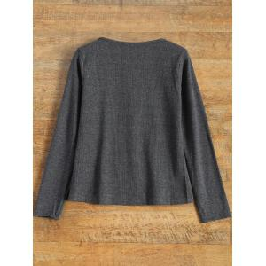 Notched Neck Long Sleeve Pullover Knitwear - GRAY S